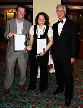 Nick Cooke with Tammy Gooding receiving the award on behalf of Central England College from APHP Chairman, Terence Watts, at the APHP International Conference awards ceremony in London in October 2008